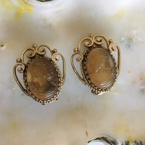 Whiting & Davis Jewelry - Whiting & Davis Vintage Signed Cameo Clip Earrings